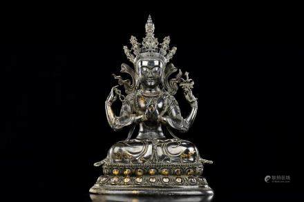GILT BRONZE CAST FOUR-ARM BODHISATTVA SEATED FIGURE