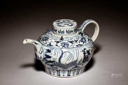 BLUE AND WHITE 'PEOPLE' TEAPOT