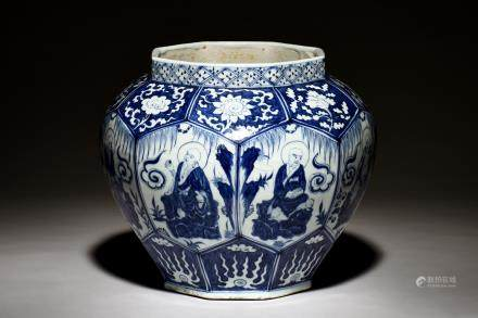 BLUE AND WHITE 'ARHAT' OCTAGONAL JARDINIERE