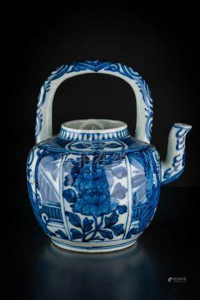 Chinese Art A blue and white teapot painted with characters