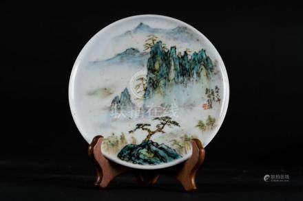 Chinese Art A small dish decorated with landscape and inscrp