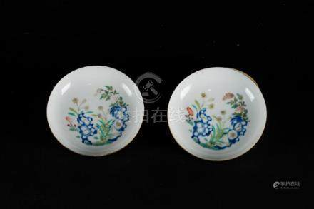 Chinese Art A pair of doucai saucer dishes enamelled with ve