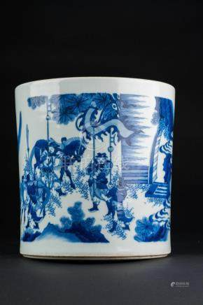 Chinese Art A blue and white porcelain brush holder (bitong)
