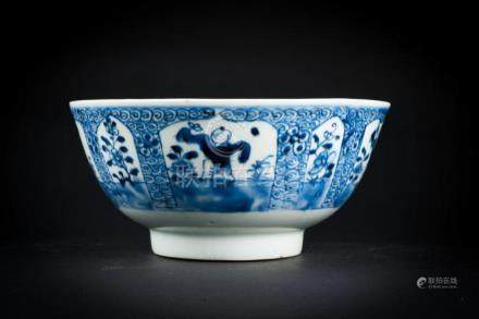 Chinese Art A blue and white porcelain bowl painted with chi