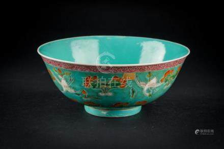 Chinese Art A porcelain bowl painted with cranes and lotus o