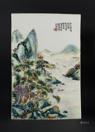 Chinese Art A porcelain plaque painted with fishermen in lan