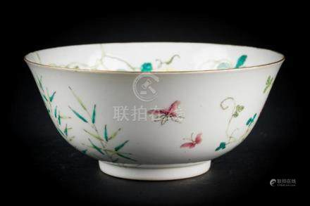 Chinese Art A famille rose bowl painted with fruit, sprays a