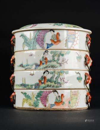 Chinese Art A famille rose porcelain four layer food box Chi