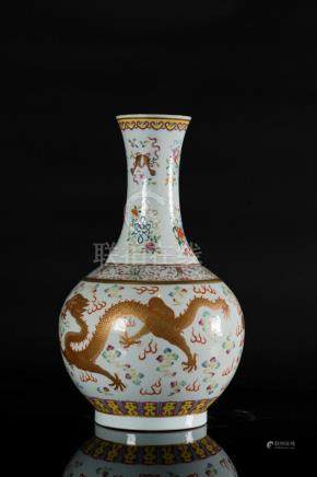 Chinese Art A bottle vase decorated with Buddhist emblems an