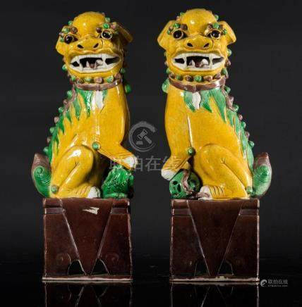 Chinese Art A pair of sancai glazed pottery Pho dogs China,