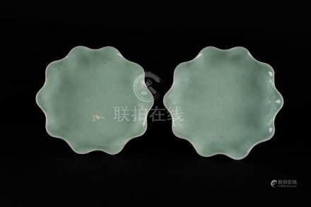 Chinese Art A pair of celadon leaf shaped pottery dishes wit