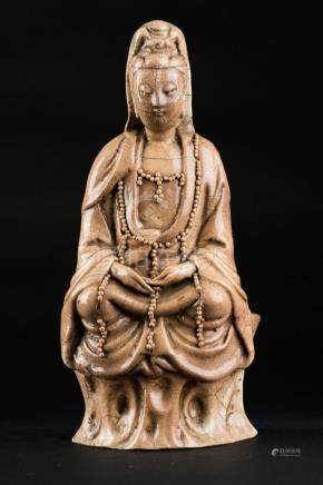 Chinese Art A craquelè blanc de Chine Guanyin porcelain fig