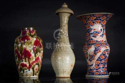 Chinese Art Lot composed of three Chinese porcelain vases of