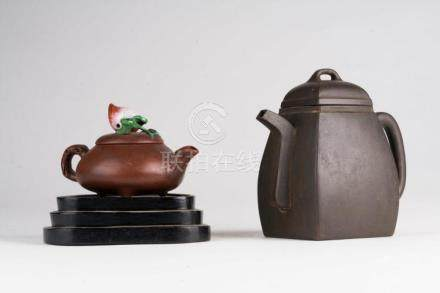 Chinese Art Lot composed of two Yixing teapots, both marked