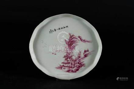 Chinese Art A white porcelain tray painted with red landscap