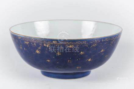 Chinese Art A blu glazed porcelain bowl with gilded floral d