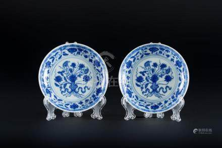 Chinese Art A pair of small blue and white porcelain saucers
