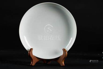 Chinese Art A monochrome white porcelain dish bearing a six