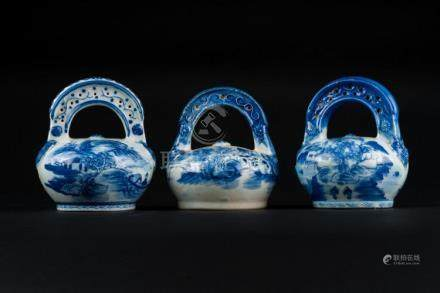 Chinese Art Three blue and white porcelain containers painte
