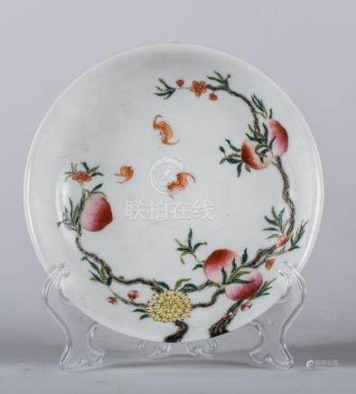 Chinese Art A famille rose porcelain dish painted with peach