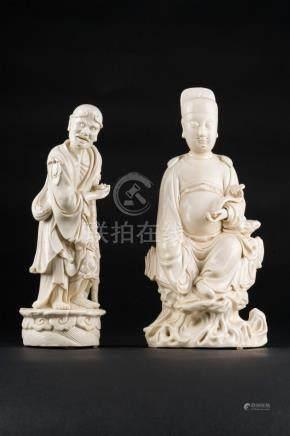 Chinese Art Two dehua porcelain figures, both bearing an inc