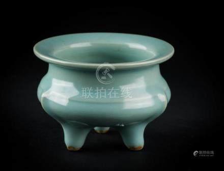 Chinese Art A small celadon glazed tripod censer China, Ming