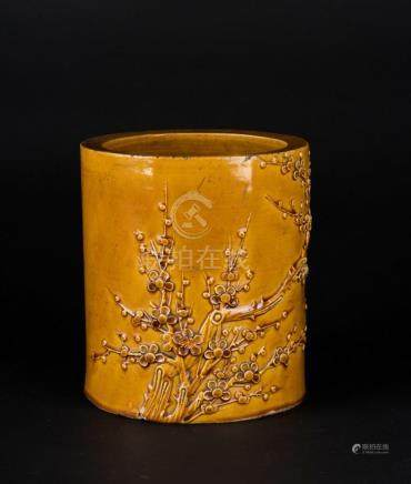Chinese Art A yellow glazed brush holder (bitong) decorated
