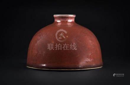 Chinese Art A peachbloom glazed beehive waterpot bearing a K