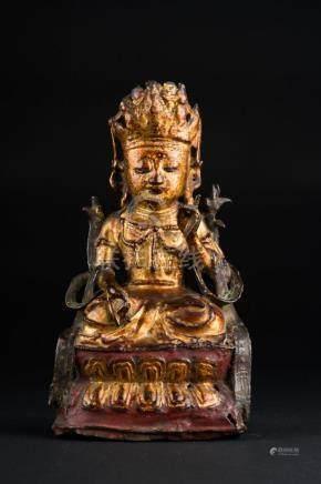 Chinese Art A lacquered bronze figure of Manjusri China, Min