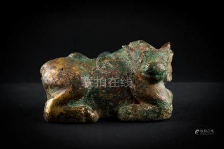 Chinese Art A gilt bronze figure of a buffalo China, 19th ce