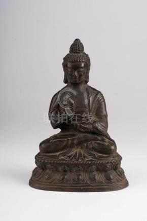 Chinese Art A bronze figure of Amoghasiddhi China, early 19t