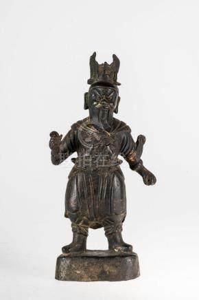 Chinese Art A dark bronze figure of standing Guandì China,
