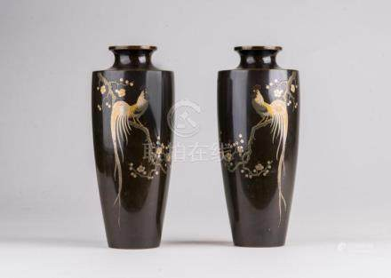 Japanese Art A pair of inlaid bronze vases decorated with a