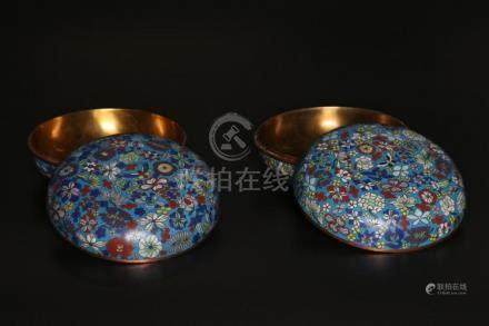 Chinese Art A pair of cloisonné enamel round boxes China, e