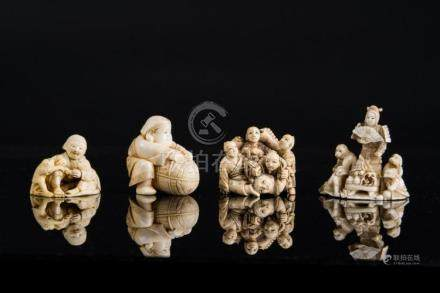 Japanese Art Lot composed of four netsuke. Signed at the bas