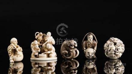 Japanese Art Lot composed of five netsuke Japan, 19th centur
