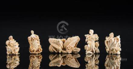 Chinese Art Lot of five ivory snuff bottles finely carved wi