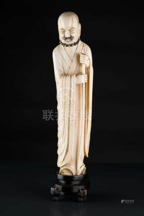 Chinese Art A Lohan ivory figure China, Qing dynasty, 18th c