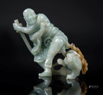 Chinese Art A jadiete group depicting a warrior and a qilin