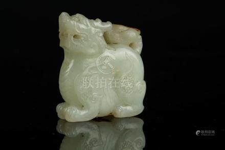 Chinese Art A jade carving in the shape of a bixie China, 19