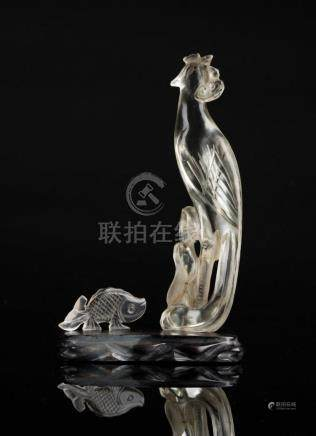 Chinese Art Two rock crystal carvings in the shape of a parr