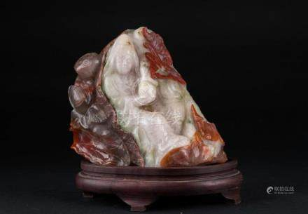 Chinese Art A quartz carving depicting a lady with bottle, f