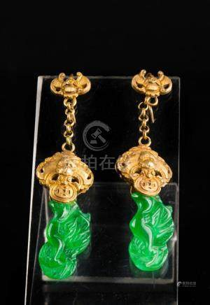 Chinese Art A pair of gold and jade earrings