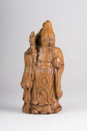 Chinese Art A bamboo carved figure of standing Shulao holdin