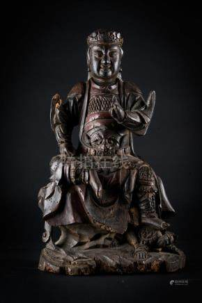 Chinese Art A wooden figure of seated Guandì China, Ming dy