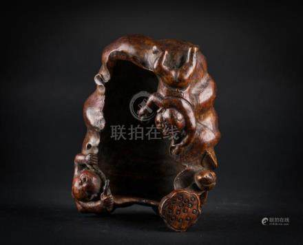 Chinese Art A bamboo brush washer carved with lotus flowers