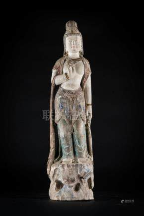 Chinese Art A wooden polychrome sculpture of standing Guanyi