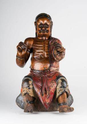 Chinese Art A wooden polychrome sculpture portraying the wra