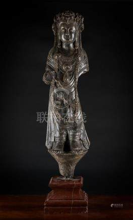 Chinese Art A stone sculpture portraying Guanyin China, Tang