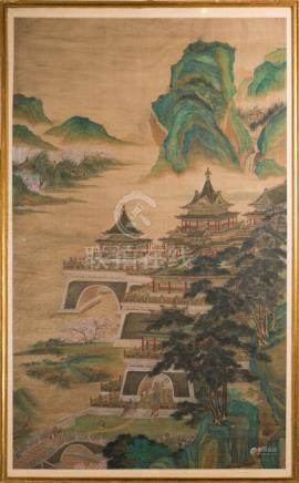 Chinese Art A boundary or architectural painting depicting a